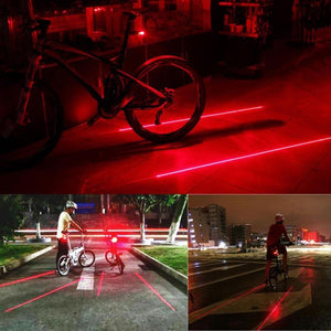 WEEKLY DEAL - Bike Cycling Lights Waterproof 5 LED 2 Lasers 3 Modes