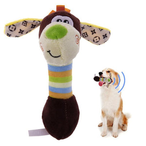 WEEKLY DEAL - Cute Pet Dog Toys Chew Squeaker Animals Pet Toys Plush Puppy Honking Squirrel