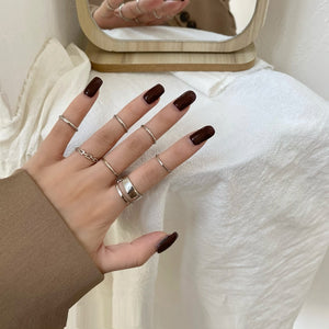 WEEKLY DEAL - Rings Set Hot Selling Metal Alloy Hollow Round
