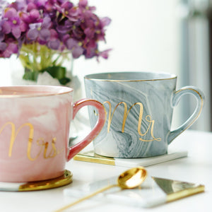 WEEKLY DEAL - Gold Monogram Natural Marble Porcelain Coffee Mug