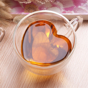 WEEKLY DEAL - Heart Love Shaped Double Wall Glass Mug