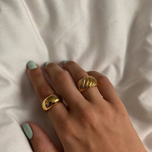 WEEKLY DEAL - High Grade 316L Stainless Steel with 18k Gold Plating Tarnish Free Croissant Chunky Gold Rings