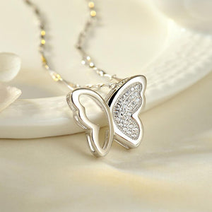 WEEKLY DEAL - Sterling Silver Necklace Jewelry Simple Elegant Zircon Butterfly Pendant