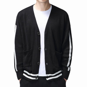 WEEKLY DEAL - Men Striped Sweater Coat Casual