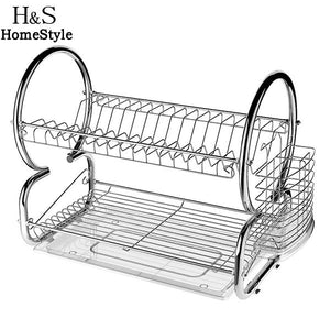 WEEKLY DEAL - Two Tier Stainless Steel Dish Drying Rack