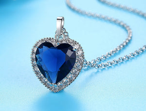 WEEKLY DEAL - Titanic Ocean Heart Lady Blue CZ Silver Chain High Quality Pendant Necklace