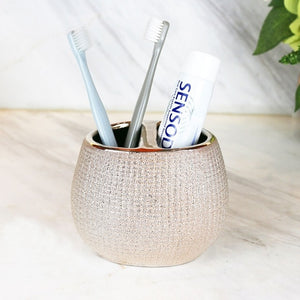 WEEKLY DEAL - European style Gold plated ceramic washing tools Rose Gold Bathroom Accessory set