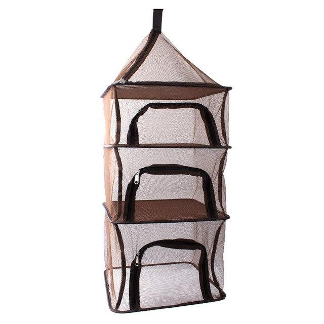 WEEKLY DEAL - Camping Dry Net Portable Folding 4 Layer Hanging Mesh Foods Dish Outdoor BBQ Picnic Bag