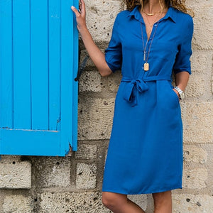 WEEKLY DEAL - Half Sleeve Lacing Shirt Dress With Pockets