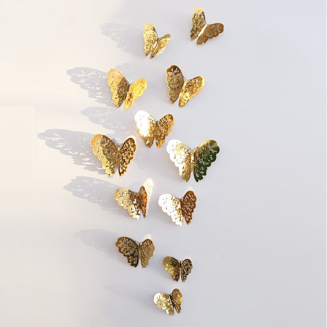 WEEKLY DEAL - 12pcs/set 3D Hollow Butterfly Wall Decorations