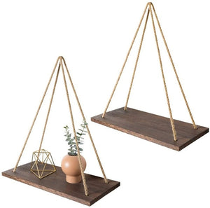 WEEKLY DEAL - Premium Wood Swing Hanging Rope Wall Mounted Floating Shelves