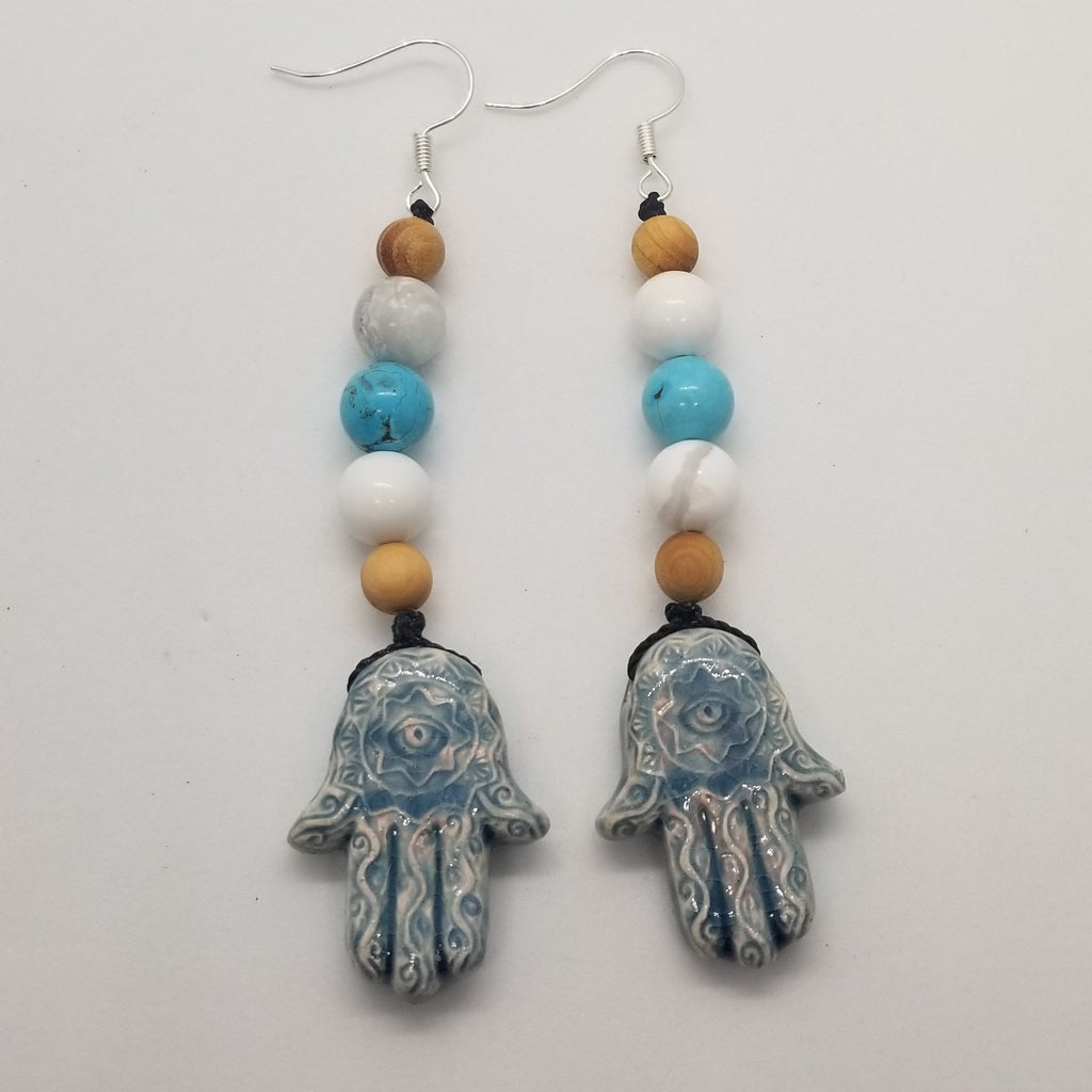 Cedar wood, White Howlite & Turquoise Howlite, Blue Ceramic Hamas Hand Dangle Earrings