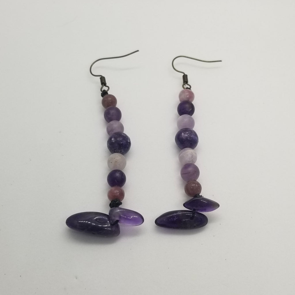 Lepidolite & Amethyst Crystal Dangle Earrings