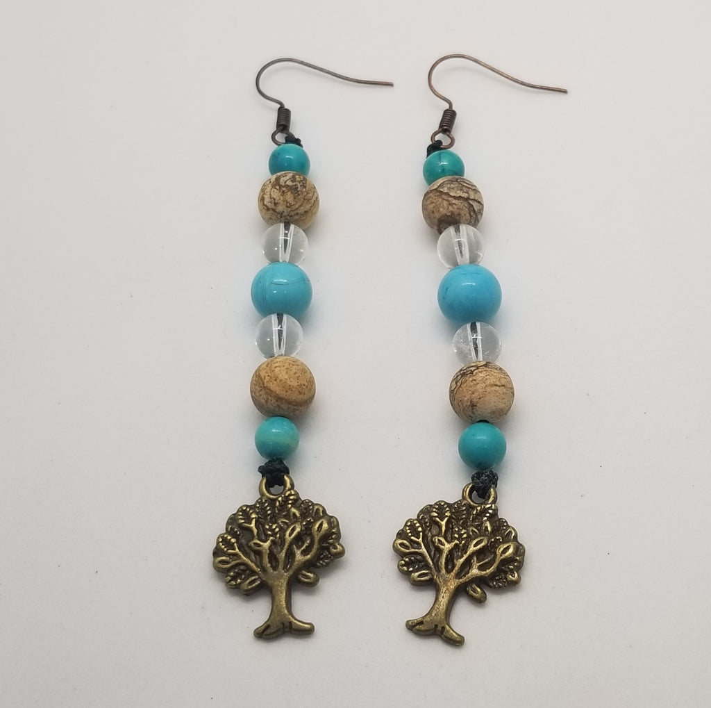 Turquoise Howlite, Picture Jasper, & Clear Quartz crystal dangle Tree Earrings