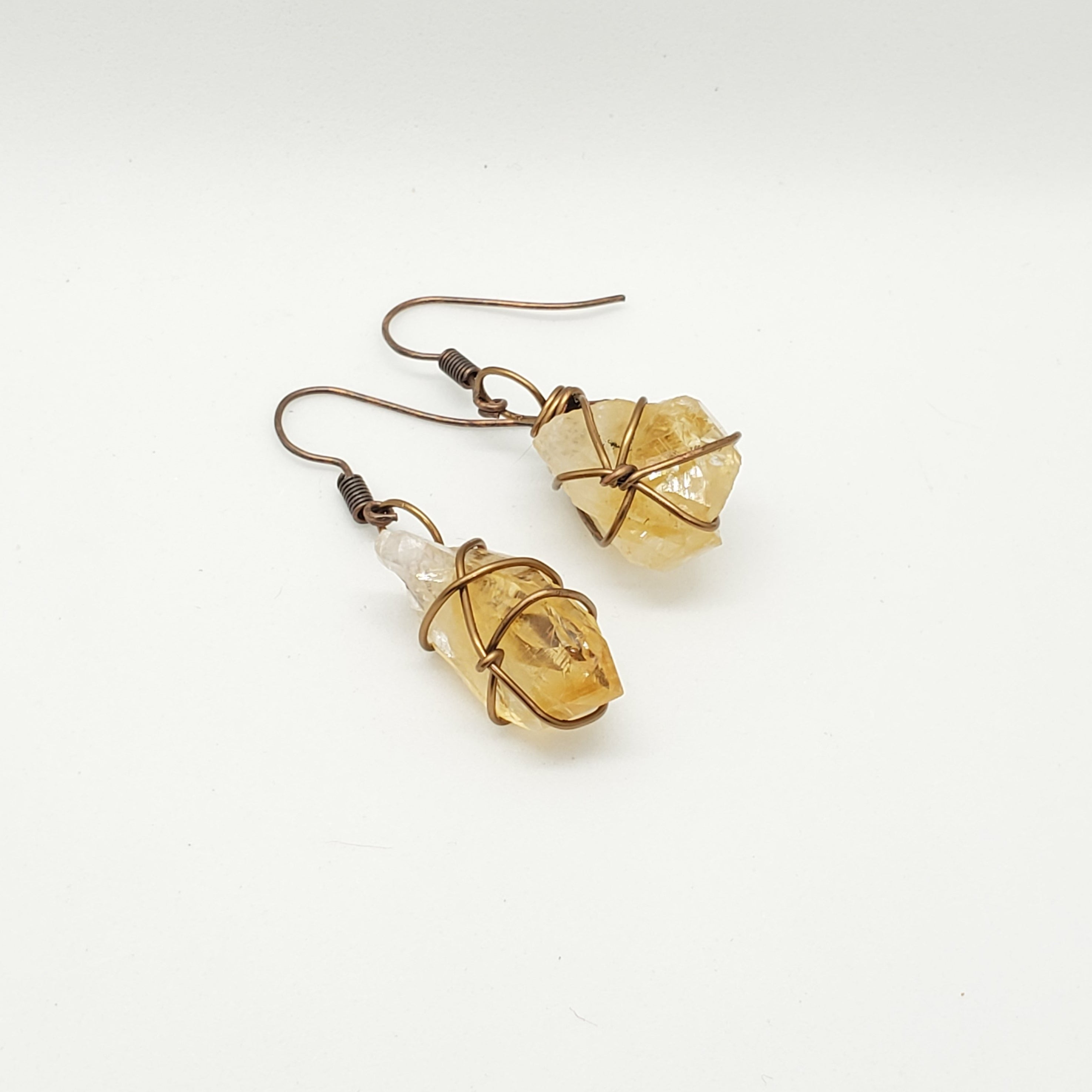 Citrine Wire Wrapped Earrings