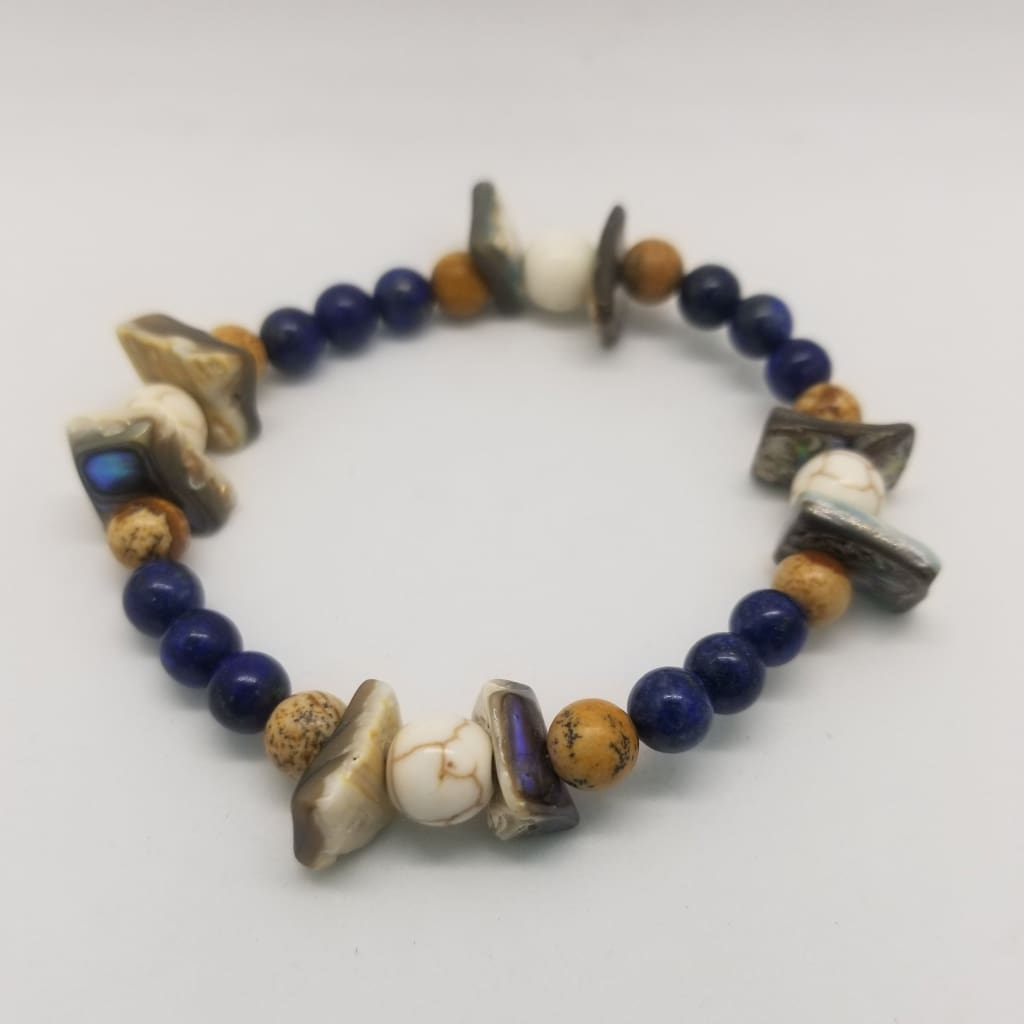 Abalone Shell Lapis Lazuli Natural Howlite & Picture Jasper Crystal Bead Bracelets