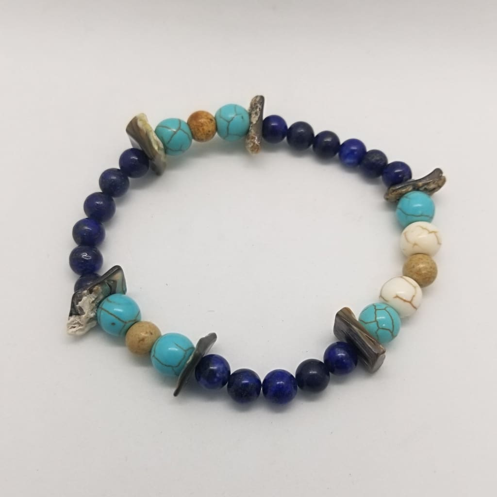 Abalone Shell Lapis Lazuli Picture Jasper Natural & Turquoise Howlite - Crystal Bead Bracelets