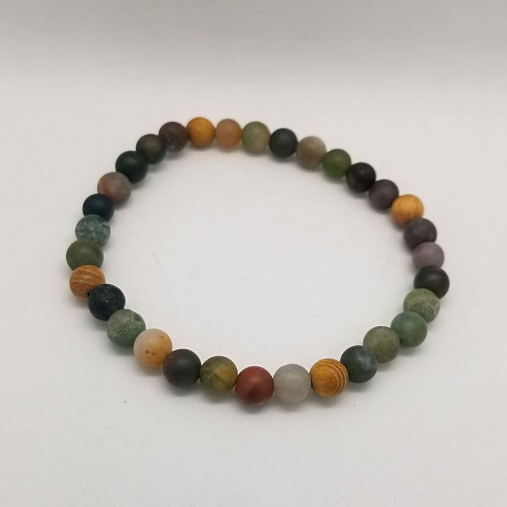 Agate And Cedar Wood Crystal Bead Bracelet