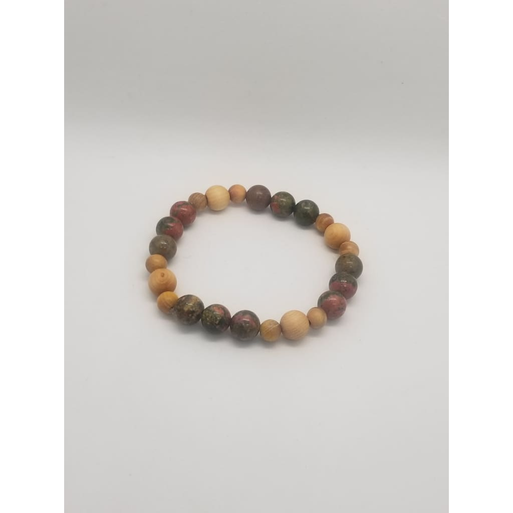 Unakite And Cedarwood - Crystal Bead Bracelets