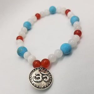 White Moonstone Turquoise Howlite & Red Carnelian - Crystal Bead Bracelets