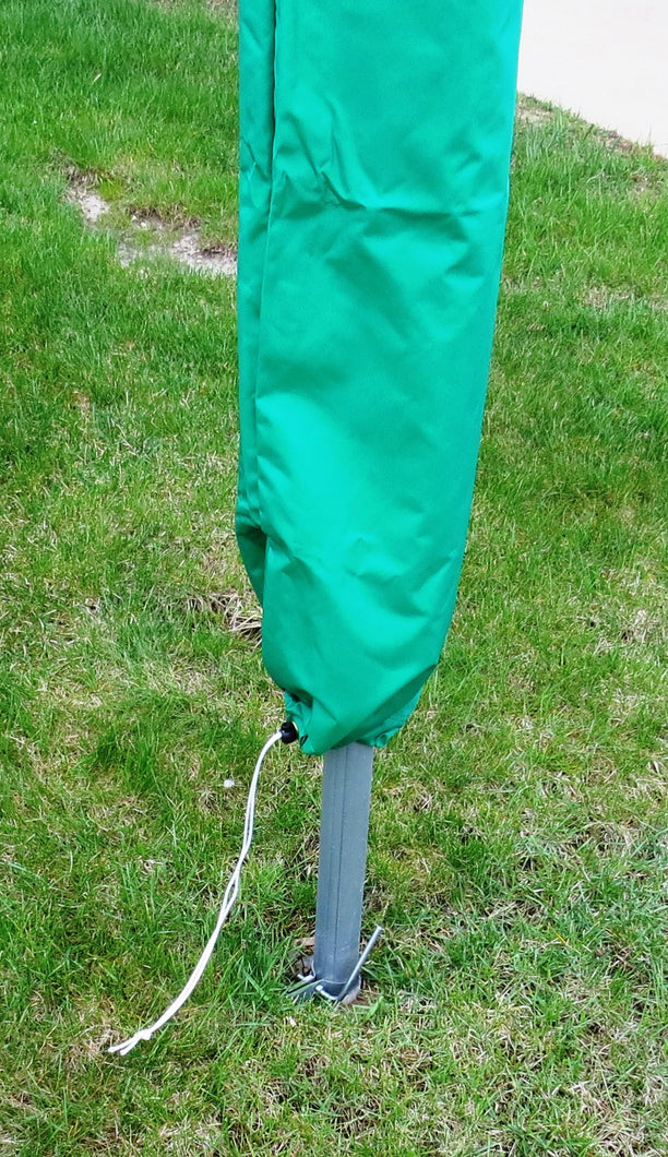 Made of weather resistant denier fabric, color is Green, has drawstring on the bottom opening.