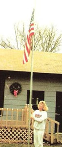 Strong 2 inch x 18 FT galvanized steel flag pole in 3 sections for easy dismantling.