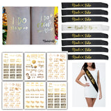 Bachelorette Party Favors Gift, Bride to Be & Bride Tribe Sash Set, Bachelorette Tattoos Temporary Metallic Tattoos Bridesmaid Kit