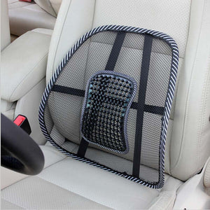 Car Seat Back Cushion Mesh Ventilate Brace Support Pad Office Home Chair Lumbar Massager Pain Relief Cool Beads massage