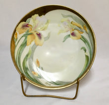 Hand painted Bavarian Iris and Gold Plate