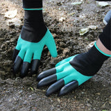 Rubber+Polyester Safety Gardening Gloves Builders Grip Gardening Dig Planting Gloves Mittens Garden Gloves With 4 Plastic Claws - Spoiled Store