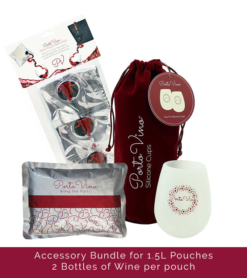 ACCESSORIES BUNDLE-1.5L - (3 )1.5 LITER POUCHES, (2) SILICONE CUPS & ICE PACK!