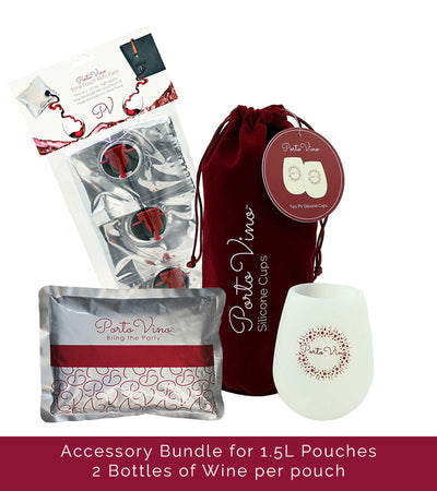 Accessory Bundle 1.5L - (3)1.5L Refill Pouches, (2)Silicone Cups, (1)Ice Pack
