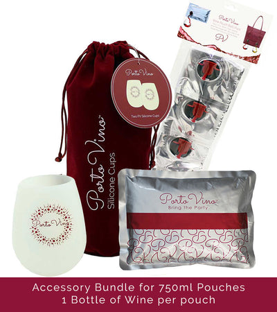 Accessory Bundle 750ml - (4)750ml Refill Pouches, (2)Silicone Cups, (1)Ice Pack