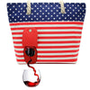 USA Beach Tote Wine Purse - holds 2 bottles of wine in a party pouch and your stuff!