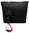 Designer tote with spout that holds wine or beverage of choice