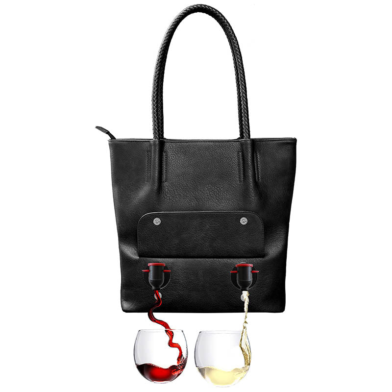 PortoVino Double Pour Tuscany Vegan Leather Tote Black
