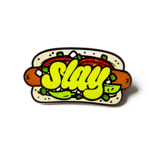 "Shea ""Chicago Hot Dog"" Pin shea coulee merch"