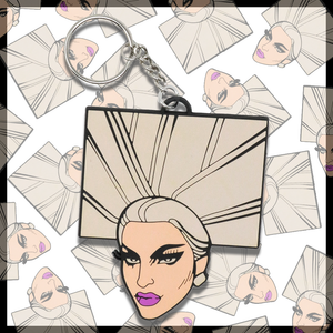 Miz Cracker PVC Keychain Chad Sell hair block square drag queen