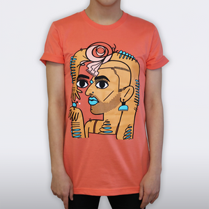 ALOK Tee T-Shirt in Coral model close up