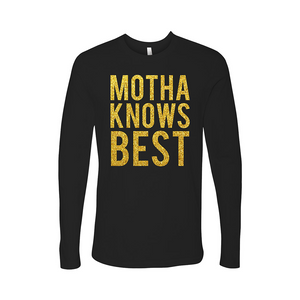Dominique Jackson Elektra Abundance motha knows best black t-shirt long sleeve gold glitter text