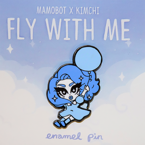 Kim Chi + Mamobot fly with me pin blue kim chi merch