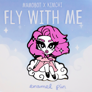 Kim Chi + Mamobot fly with me pin pink kim chi merch