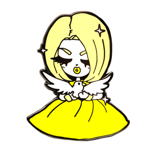 Kim Chi + Mamobot fly with me pin yellow kim chi merch