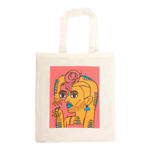 Alok Vaid-Menon TOTES ALOK white canvas tote orange pink