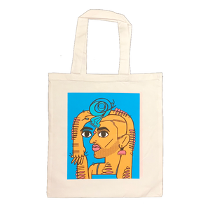Alok Vaid-Menon TOTES ALOK white canvas tote blue orange