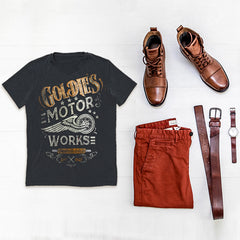 GOLDIE'S MOTORS motorcycle tee. Goldingers Brand 100% original premium branded t-shirts. Wear this Vintage lifestyle moto Graphic Tee with your favorite pair of Levis.