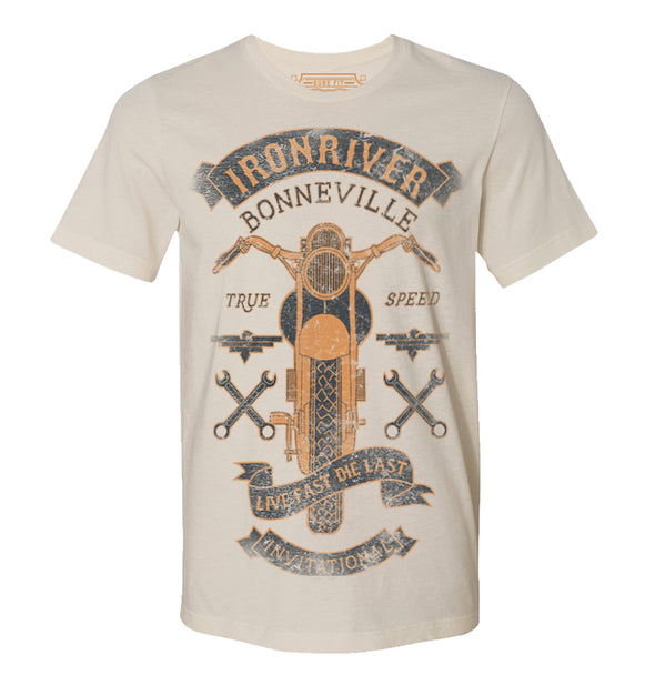 Goldinger's Collectable Mens Print T shirts iron River Tee Sand White