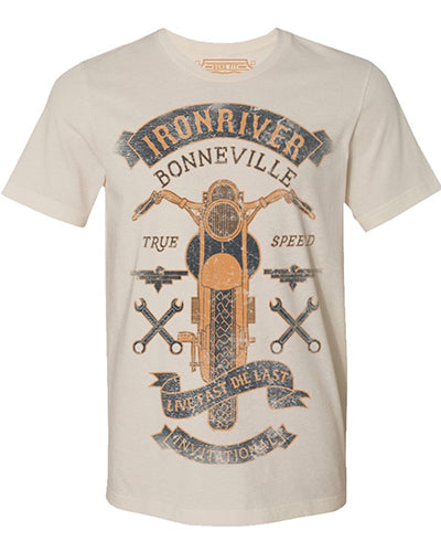 IRON-RIVER Goldingers Brand 100% cotton jersey, short sleeve, crew neck, pre-shrunk, screen printed Vintage motorcycle Graphic Tee in off white. Inspired by the American road and an untamed outlaw spirit