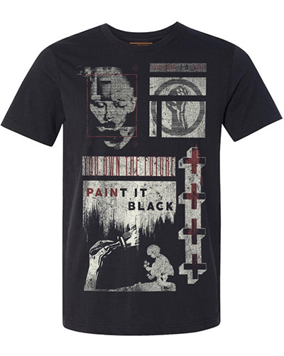 Goldinger's Collectable Mens Print T shirts Paint It Black Tee in Vintage Black. Inspired by the restless soul, Music, art and band tees.