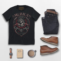 AMERICAN LIBERTY tee. Goldingers Brand premium 100% cotton, short sleeve, crew neck, pre-shrunk, screen printed Vintage style Graphic Tee. Wear with your favorite red wing boots and outdoor accessories.